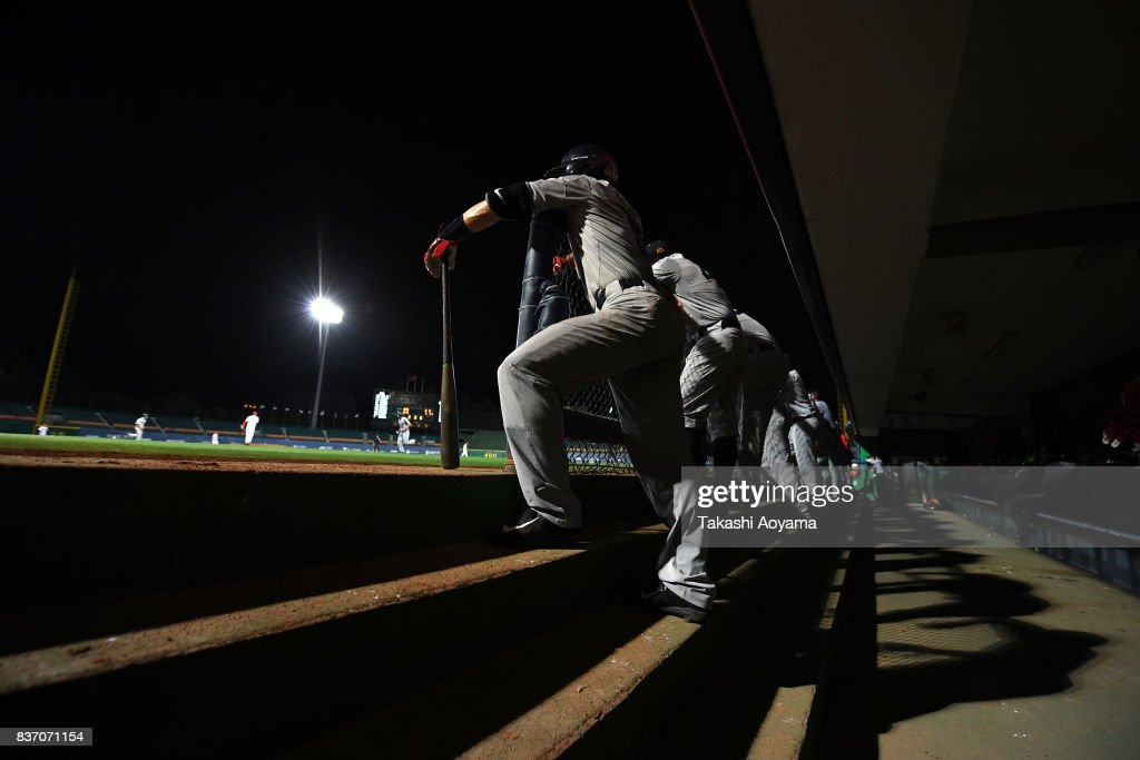 Players of United States watches the game during the Baseball Group B match between United States and Russia during day three of the 29th Summer Universiade Taipei at the Xinzhuang Baseball Stadium on August 22, 2017 in Taipei, Taiwan.
