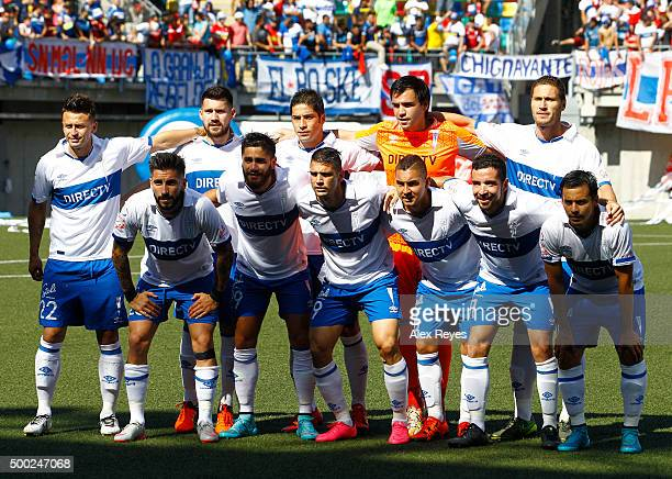 Players of Universidad Católica pose for pictures prior to a match between Audax Italiano and Universidad Catolica as part of 15th round of...