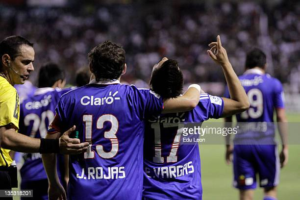 Players of Universidad de Chile celebrate a goal during the Finals of the Copa Bridgestone Sudamericana at Casablanca Stadium on December 08 2011 in...