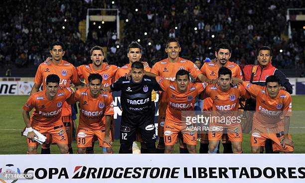 Players of Universiratio de Sucre of Bolivia pose before the Libertadores Cup football match against Tigres of Mexico in Sucre Bolivia on April 28...