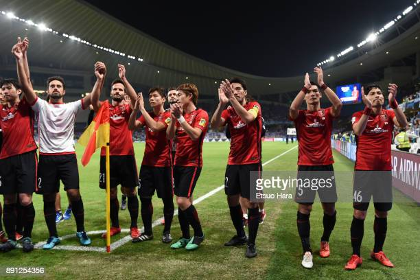 Players of Urawa Red Diamonds applaud the fans after the FIFA Club World Cup UAE 2017 Match for 5th Place between Wydad Casablanca and Urawa Reds at...