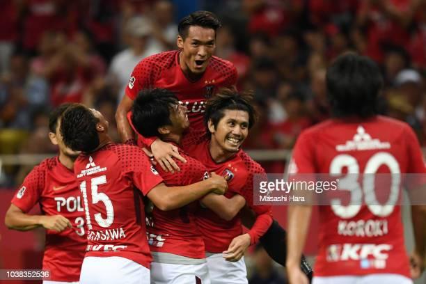 Players of Urawa Red Diamonds celebrate the first goal during the JLeague J1 match between Urawa Red Diamonds and Vissel Kobe at Saitama Stadium on...