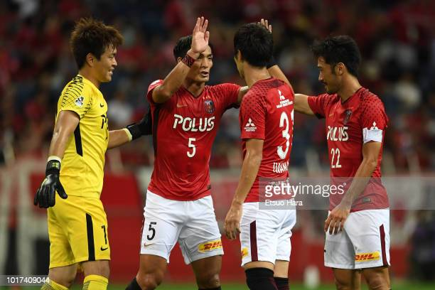 Players of Urawa Red Diamonds celebrate their side's 40 victory after the JLeague J1 match between Urawa Red Diamonds and Jubilo Iwata at Saitama...