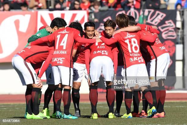 Players of Urawa Red Diamonds huddle during the preseason friendly between Urawa Red Diamonds and FC Seoul at Urawa Komaba Stadium on February 12,...
