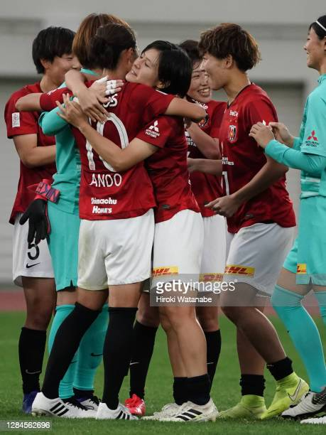 Players of Urawa Red Diamonds Laders celebrate the win after the Nadeshiko League match between Urawa Red Diamonds Ladies and Ehime FC Ladies at the...