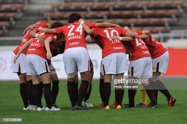 Players of Urawa Red Diamonds Ladies hud dle during the Nadeshiko League match between Urawa Red Diamonds Ladies and Albirex Niigata Ladies at Urawa...