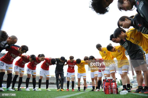 Players of Urawa Red Diamonds Ladies hud dle prior to the Nadeshiko Cup match between Urawa Red Diamonds Ladies and Albirex Niigata Ladies at Komaba...