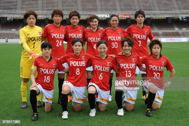 players of Urawa Red Diamonds Ladies pose for photograph during the Nadeshiko Cup match between Urawa Red Diamonds Ladies and Albirex Niigata Ladies...