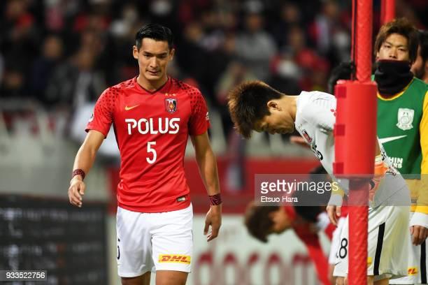 Players of Urawa Red Diamonds looks dejected after the JLeague J1 match between Urawa Red Diamonds and Yokohama FMarinos at Saitama Stadium on March...