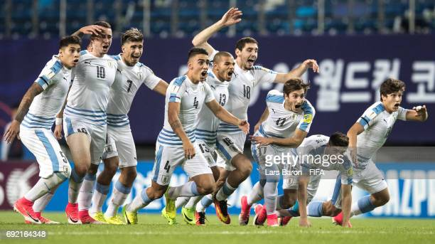 Players of Uruguay celebrate after winning the FIFA U20 World Cup Korea Republic 2017 Quarter Final match between Portugal and Uruguay at Daejeon...