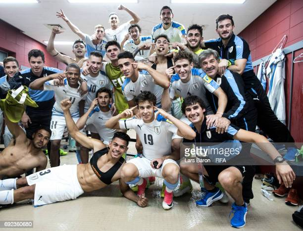 Players of Uruguay celebrate in the dressing room after winning the FIFA U20 World Cup Korea Republic 2017 Quarter Final match between Portugal and...