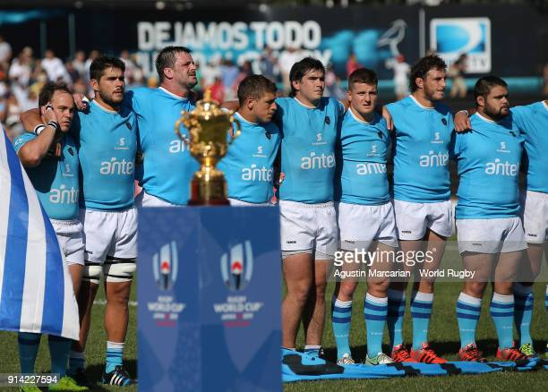 Players of Uruguay line up during the national anthem before the Rugby World Cup 2019 qualifier match at Estadio Charrua on February 3 2018 in...