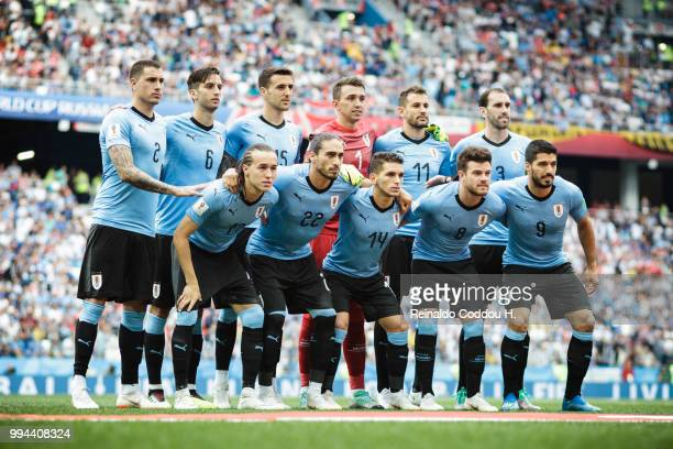 Players of Uruguay line up for a team picture prior to the 2018 FIFA World Cup Russia Quarter Final match between Winner Game 49 and Winner Game 50...