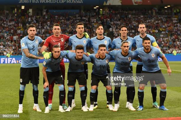 Players of Uruguay line up for the team photos prior to the 2018 FIFA World Cup Russia Round of 16 match between Uruguay and Portugal at Fisht...