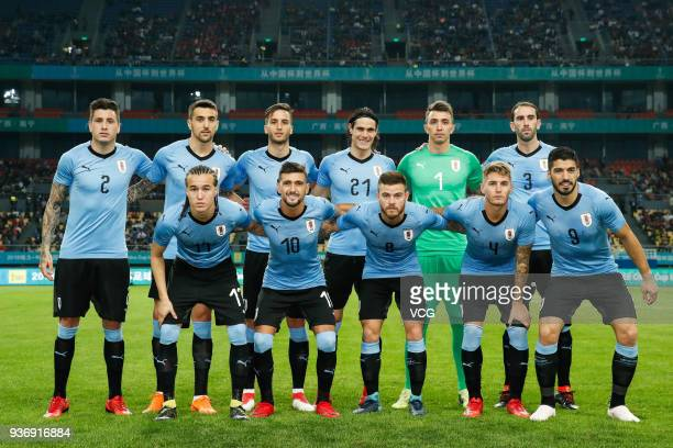 Players of Uruguay line up prior the 2018 China Cup International Football Championship match between Uruguay and Czech Republic at Guangxi Sports...