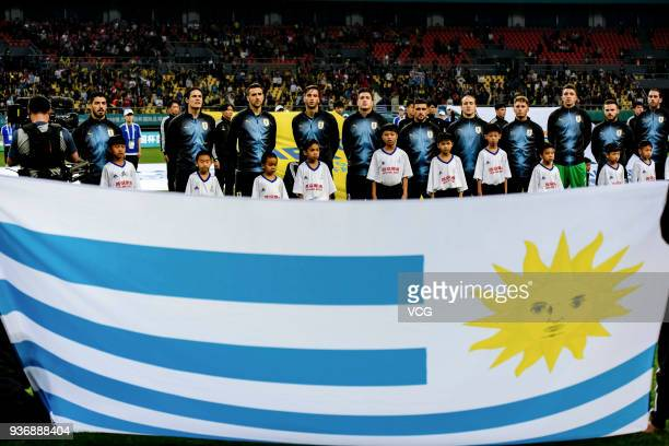 Players of Uruguay line up prior to the 2018 China Cup International Football Championship match between Uruguay and Czech Republic at Guangxi Sports...