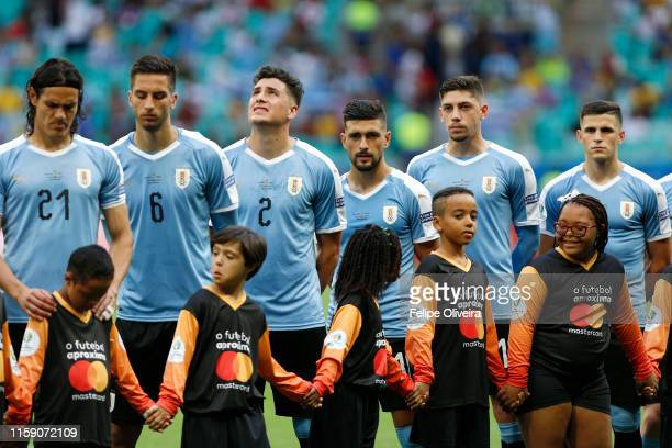 Players of Uruguay line up prior to the Copa America Brazil 2019 quarterfinal match between Uruguay and Peru at Arena Fonte Nova on June 29 2019 in...