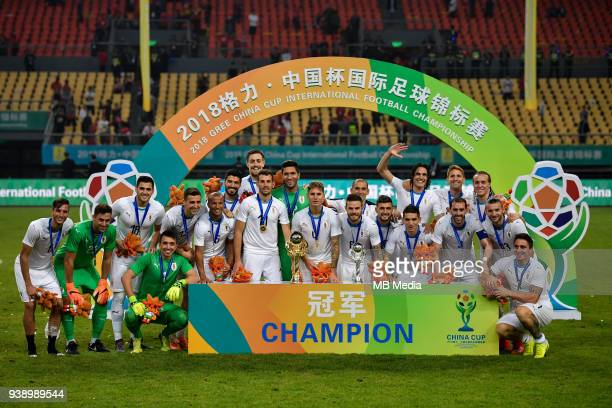 Players of Uruguay national football team take part in the champion award ceremony for the 2018 Gree China Cup International Football Championship in...