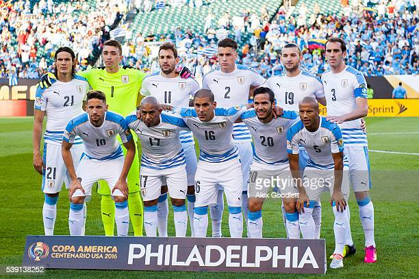 Players of Uruguay pose for a team photo before a group C match between Uruguay and Venezuela at Lincoln Financial Field as part of Copa America...