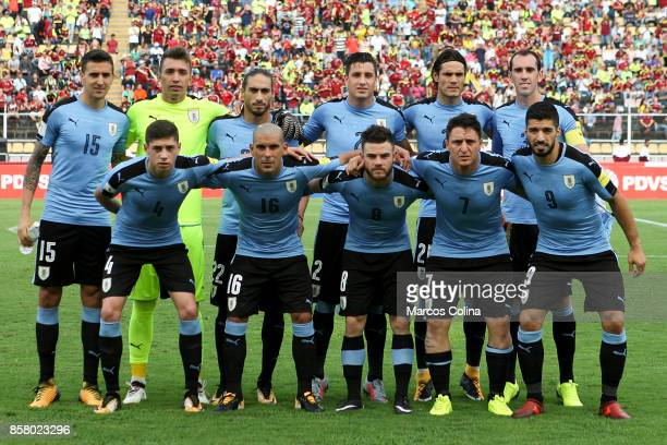 Players of Uruguay pose for photos before the match between Venezuela and Uruguay as part of FIFA 2018 World Cup Qualifiers at Pueblo Nuevo Stadium...