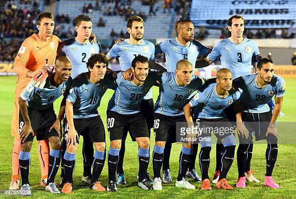 Players of Uruguay pose for pictures prior to a match between Uruguay and Colombia as part of FIFA 2018 World Cup Qualifier at Centenario Stadium on...