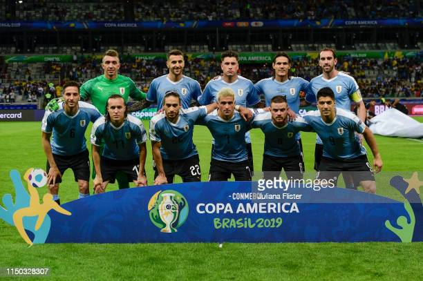 Players of Uruguay pose for the team photo ahead of the Copa America Brazil 2019 group C match between Uruguay and Ecuador at Mineirao Stadium on...