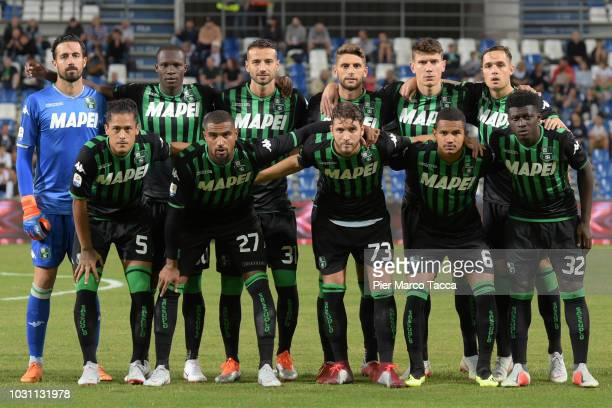 Players of US Sassuolo pose prior the serie A match between US Sassuolo and Genoa CFC at Mapei Stadium Citta' del Tricolore on September 2 2018 in...