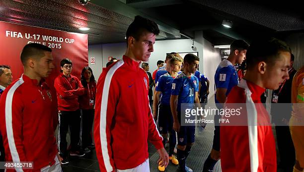Players of USA and of Croatia walk onto the pitch before the FIFA U17 Men's World Cup 2015 group A match between USA and Croatia at Estadio Sausalito...