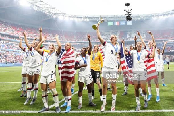 Players of USA celebrate after winning the 2019 FIFA Women's World Cup France Final match between The United State of America and The Netherlands at...