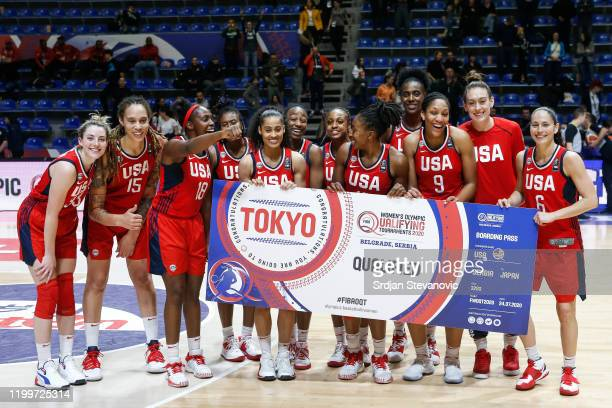 Players of USA celebrate after winning ticket for Olympic games in Tokio after the FIBA Women's Olympic Qualifying Tournament 2020 Group A match...
