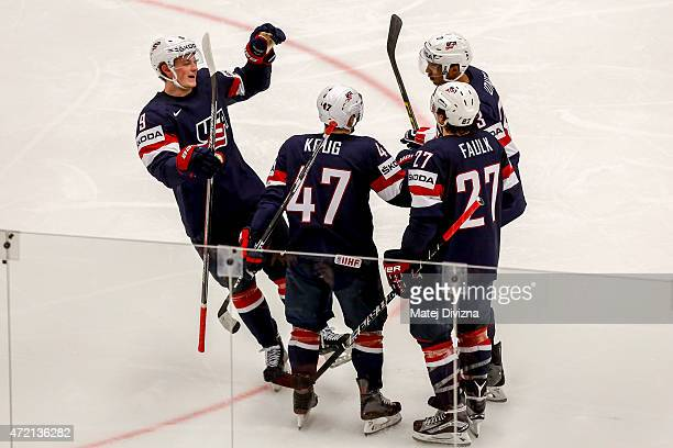 Players of USA celebrate their goal during the IIHF World Championship group B match between Russia and USA at CEZ Arena on May 4 2015 in Ostrava...