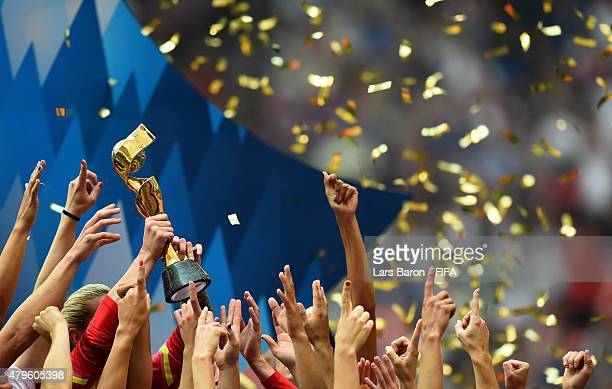 Players of USA celebrate with the trophy after winning the FIFA Women's World Cup 2015 Final between USA and Japan at BC Place Stadium on July 5 2015...