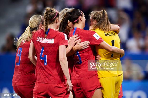 Players of USA congrats Alyssa Naeher for saving the penalty during the 2019 FIFA Women's World Cup France Semi Final match between England and USA...
