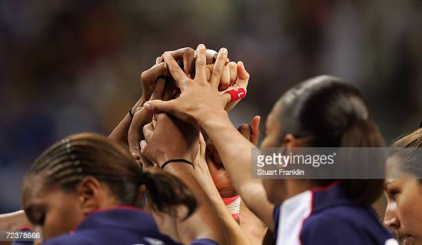 Players of USA hudle during their women's basketball quarterfinal game against Greece on August 25, 2004 during the Athens 2004 Summer Olympic Games...