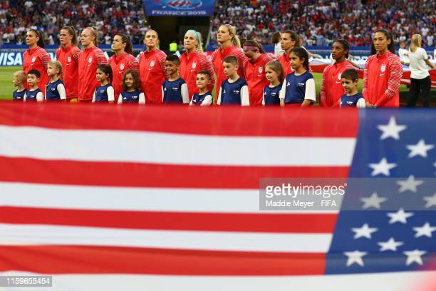 Players of USA line up for the national anthem prior to the 2019 FIFA Women's World Cup France Semi Final match between England and USA at Stade de...