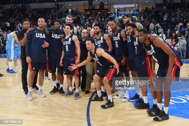Players of USA pose after winning a match between Uruguay and USA as part of Group E of FIBA Americas Qualifiers for China 2019 FIBA World Cup at...