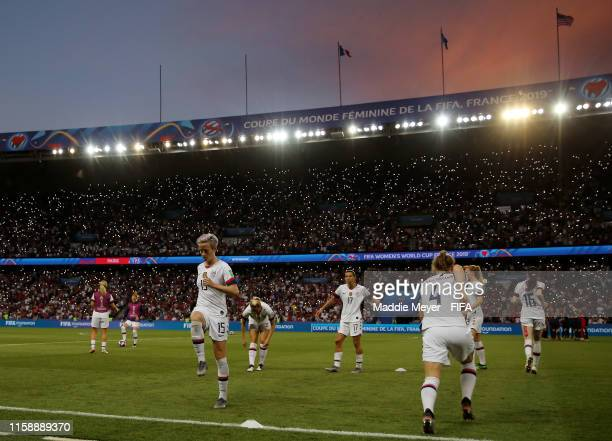 Players of USA prepare for the second half of the 2019 FIFA Women's World Cup France Quarter Final match between France and USA at Parc des Princes...