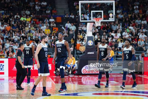 Players of USA react after FIBA World Cup 2019 games 5-8 match between Serbia and the United States at Dongguan Basketball Center on September 12,...