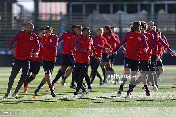 Players of USA warm up during a USA National Team training session at MAPFRE Stadium on November 10 2016 in Columbus United States