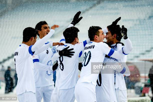 Players of Uzbekistan celebrate a point during the AFC U23 Championship China 2018 final match between Vietnam and Uzbekistan at Changzhou Olympic...