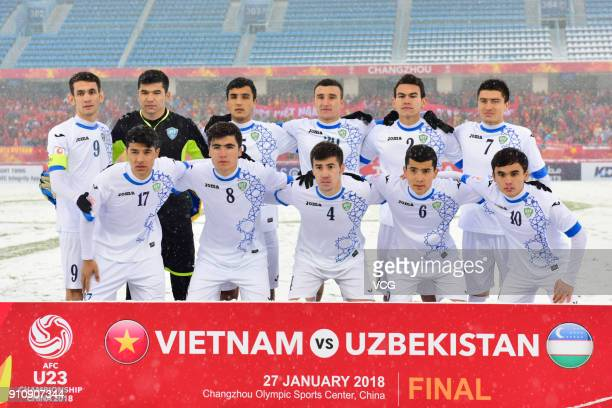 Players of Uzbekistan line up prior to the AFC U23 Championship China 2018 final match between Vietnam and Uzbekistan at Changzhou Olympic Sports...