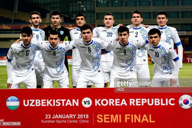 Players of Uzbekistan line up prior to the AFC U23 Championship semifinal match between Uzbekistan and South Korea at Kunshan Sports Center on...