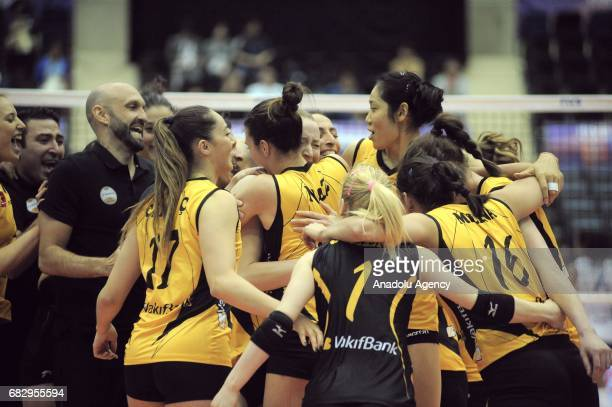 Players of Vakifbank Istanbul celebrate the victory of the FIVB Womens Club World Championship Day 5 final match between Vakifbank Istanbul and...