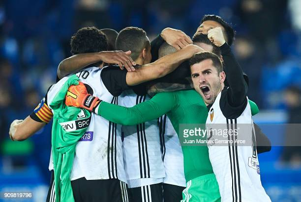 Players of Valencia CF celebrate after winning the match against Alaves after the penalti shootout during the Copa del Rey Quarter Final second Leg...