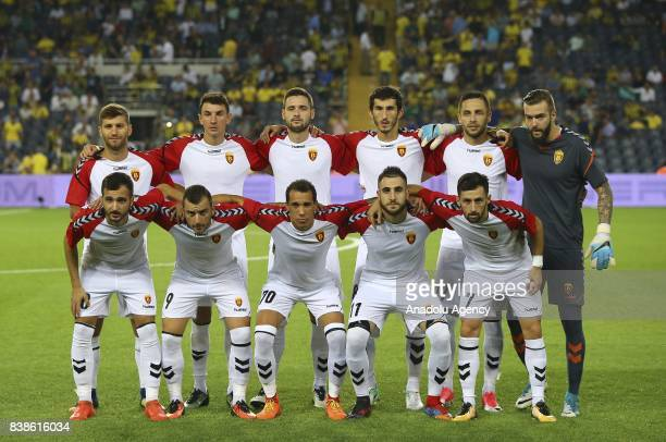 Players of Vardar pose for a photo ahead of a UEFA Europa League playoff soccer match between Fenerbahce and Vardar at Ulker Stadium in Istanbul...
