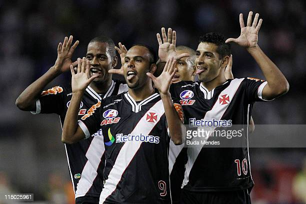 Players of Vasco celebrate scored goal during a match as part of Brazil Cup 2011 at Sao Januario stadium on June 01, 2011 in Rio de Janeiro, Brazil.