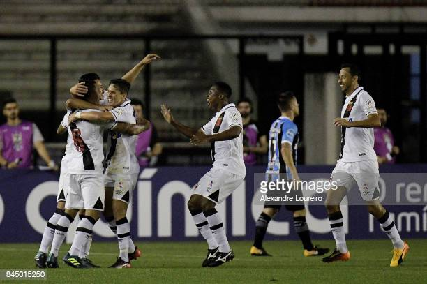 Players of Vasco da Gama celebrates a scored goal by Mateus Vital during the match between Vasco da Gama and Gremio as part of Brasileirao Series A...