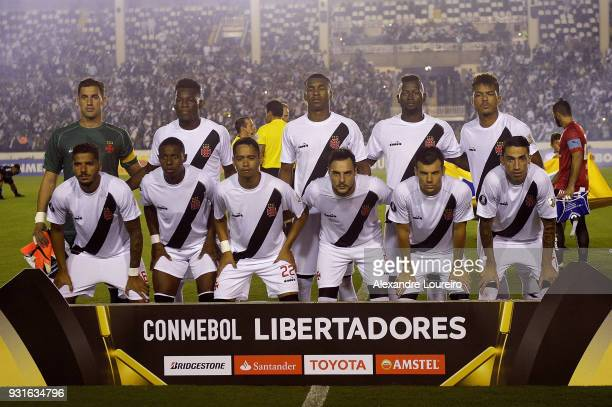 Players of Vasco da Gama pose for photographers before a Group Stage match between Vasco and Universidad de Chile as part of Copa CONMEBOL...