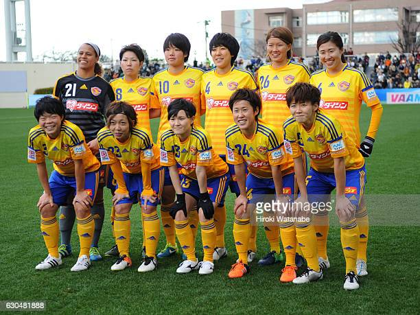 Players of Vegalta sendai Ladies pose for photograph prior to the 38th Empress's Cup Semi Final between Vegalta Sendai Ladies and INAC Kobe Leonessa...