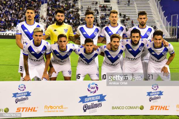 Players of Velez pose prior a match between Velez Sarsfield and River Plate as part of Superliga 2018/19 at Jose Amalfitani Stadium on February 3...